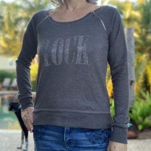 Rock & Republic Sweatshirt ROCK w/Zippers Sz S